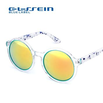 COLOSSEIN sunglasses women round BLUE LABEL Retro style Sun Glasses 2017 Luxury Ladies sunglasses gafas de sol mujer