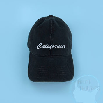CALIFORNIA Baseball Cap Dad Hat Low Profile Casquette Strap Back Black White Embroidered Unisex Adjustable Cotton Baseball Hat