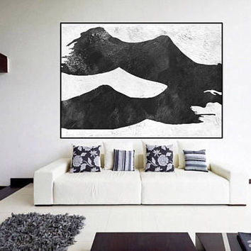 acrylic abstract painting wall art , minimalist original painting on canvas black and white, large abstract art, Contemporary Painting