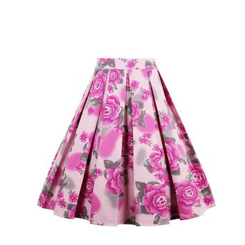 Audrey Hepburn Pink Rose High Rise Pleated A Line Skirt