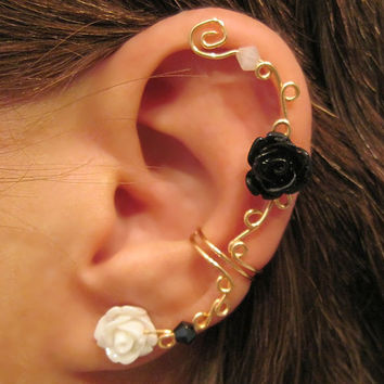 "Non Pierced Ear Cuff  ""Climbing Roses"" Cartilage Conch Cuff Gold tone and Lucite Roses One Cuff Wedding, Prom"