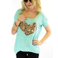 Wild Heart Mint Sequin Knit Top