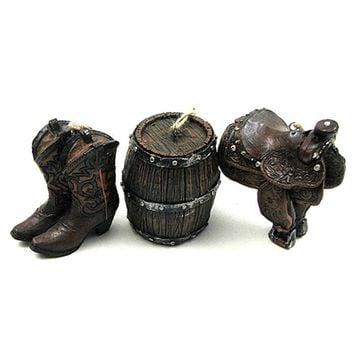SheilaShrubs.com: Western Ornament Set of 3, Boots, Saddle, Barrel 021-12666 by IWGAC: Christmas Tree Ornaments