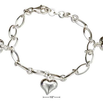 "STERLING SILVER 7""-8"" ADJUSTABLE ITALIAN CHARM BRACELET WITH PUFFED HEARTS"