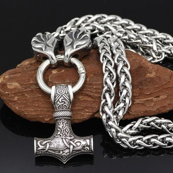 Youeshone Men Stainless Steel Viking Raven Head with Goat Thor's Hammer Pendant Necklace