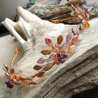 Autumn Flame Amethyst and Copper Tiara Circlet Crown | Thyme2dream - Wedding on ArtFire
