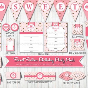 Sweet 16 Birthday, Birthday Party Decorations, DIY Party, My Super Sweet 16, Tween, Pretty in Pink, Princess, Sweet Sixteen, Sweet 16