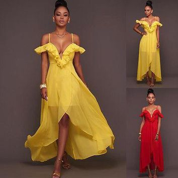 Women Formal Dresses Long Evening Party Ball Prom Gown Chiffon Dress Red Yellow Costume Summer Sexy