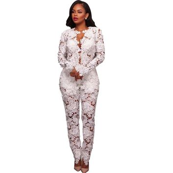 White Flower Top and Pants Set