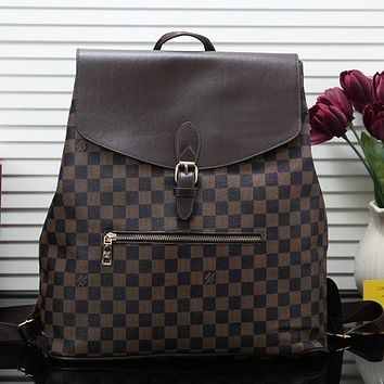 Louis Vuitton LV Fashion Leather Backpack Travel Bag