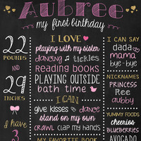 1st Birthday Board Glitter and Pink - First Birthday Poster - 1st Bday Sign - Gold Princess Birthday - Chalkboard Poster