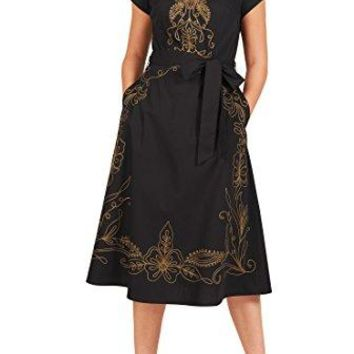 eShakti Women's Filigree embellished poplin midi dress