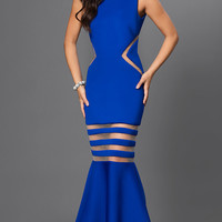 Cobalt Blue Mermaid Dress with Sheer Cut Outs and Open Back by Terani
