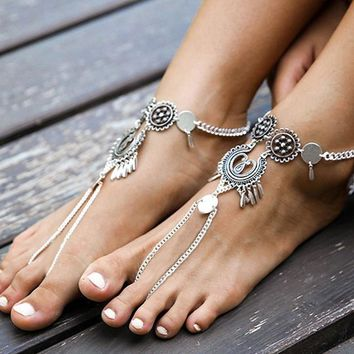 Antiqued Silver Anklet with Toe Ring