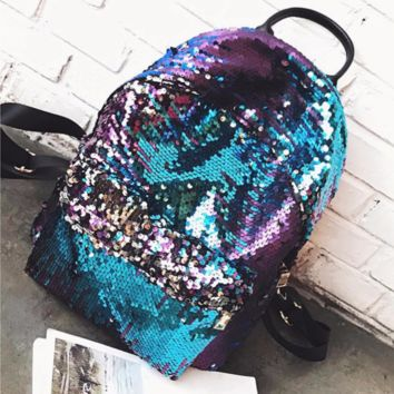 BLUE PURPLE LARGE MERMAID MAGICAL REVERSIBLE SEQUIN GLITTER SCHOOL BACKPACK