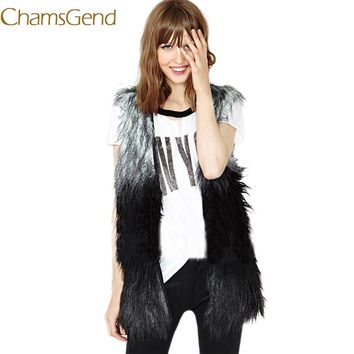 2017 Brand Faux Fur Vest Winter Warm Women Faux Fox Fur Vest Furry Slim Woman Fake Fur Plus Size Fur Vests High Quality Femme
