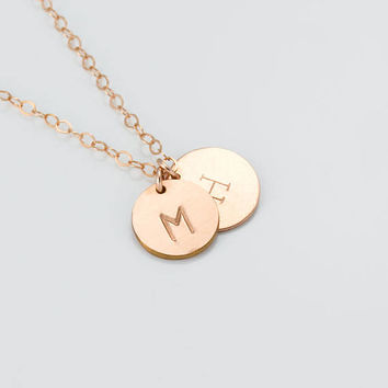 Rose Gold Personalized Necklace • Coin Necklace in 14k Rose Gold Filled • Dainty Rose Gold Necklace • Rose Gold Initial Necklace | 0278-3NM