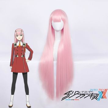 Darling In The Franxx 02 Zero Two Cosplay Wig for Women 100cm Long Straight Heat Resistant Synthetic Hair Anime Party Pink Thick
