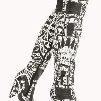 Printed Thigh High Heels For The Club