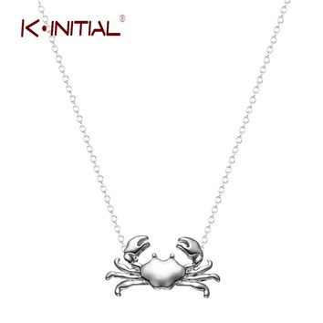Kinitial Retail Silver Gold Maryland Crab Pendant Necklace Cancer Zodiac Necklace & Pendant Chain Jewelry for Women Girls Bijoux