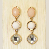 Cream & Crystal Drop Earrings