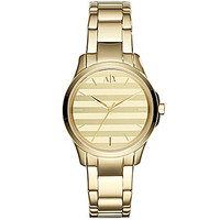 AX Armani Exchange Ladies Goldtone Striped Dial 3-Hand Watch - Gold