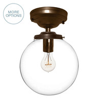 "8"" Clear Blown Glass Globe Pendant Light- Flushmount"