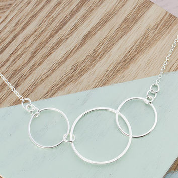 3 Loop Necklace - Sterling Silver Handmade Craft Jewellery - Perfect Womans Gift, Craft Jewelry, Linked Circle Rings and Loops Pendant