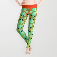 Happy Alien and Daisy Nineties Grunge Pattern Leggings by Chobopop