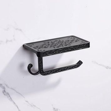 Bathroom Hardware Set BLACK Paper Mobile Phone Holder Space Aluminum Antique Roll Holder with Shelf Toilet Paper Box Wall Mount