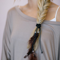 Feather & Leather Hair Ties