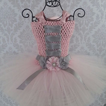 Pink Princess tutu dress, Fairy Tutu Dress, Bridesmaid Tutu dress, Flower girl dress, Birthday Tutu, Photo Prop, Pink and Silver Tutu