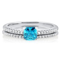 Cushion Aquamarine CZ 925 Sterling Silver 2-Pc Bridal Ring Set 0.46 ct #r647-AQ