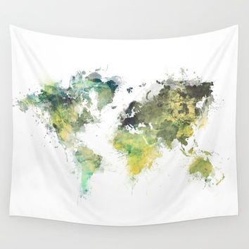 world map 88 art green Wall Tapestry by jbjart