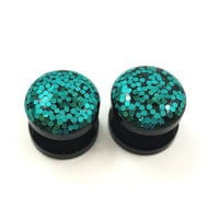 Glitter teal plugs / 2g, 0g, 00g, 1/2, 9/16, 5/8 / fancy plugs / glitter gauges / mermaid jewelry / teal gauges / sparkle plugs / aqua