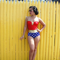 Wonder Woman bathing suit swimsuit xs-XL made to order