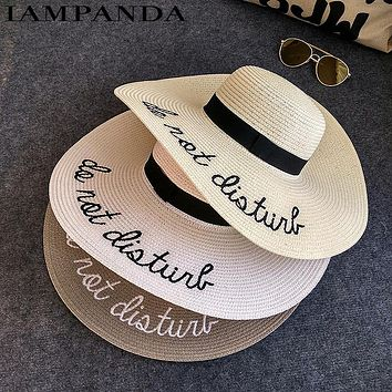 IAMPANDA brand 2017  letter embroidery cap Big brim Ladies summer straw hat youth hats for women Shade sun hats Beach hat sale