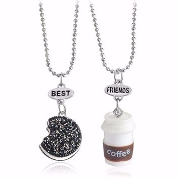 2Pcs/Set BFF Necklace for 2 Friends Coffee and Oreo Necklace with Glitter Biscuit Kids Jewelry Boy and Girl Best Friend Necklace