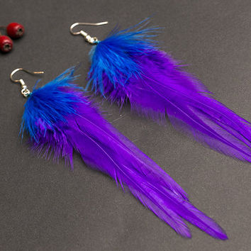 Purple feather earrings: purple earrings, purple jewelry, long earrings, light earrings, feather jewelry, gift for her, indigo feather