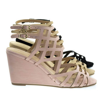 Behave Pink Honeycomb Cage Sandal w Wedge & Double Ankle Strap, Gladiator Cutouts