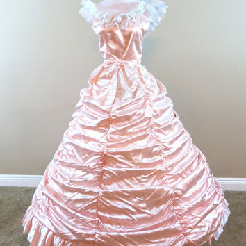Peach Ruched Gown Civil war costume renaissance dress satin dress