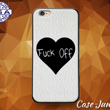 F*ck Off Black Heart Quote Tumblr Inspired Cute For Custom Case For iPhone 4 and 4s and iPhone 5 and 5s and 5c and iPhone 6 and 6 Plus +