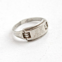 Vintage Art Deco Sterling Silver Monogrammed AK Ring - 1930s Size 7 Hallmarked Uncas Personalized Etched Jewelry