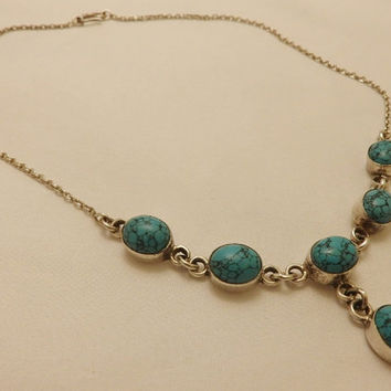 Navajo Sterling Silver Turquoise Necklace Vintage Gemstone Jewelry