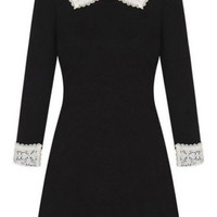 ROMWE | Lapels Lace Panel Black Slim Dress, The Latest Street Fashion