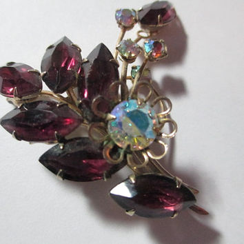 Fancy Purple Navette Rhinestone Flower Pin Brooch AB Stylish Autumn Leaf Vintage Jewelry