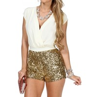 SALE-Ivory Gold Sequin Romper