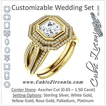 CZ Wedding Set, featuring The Eliana engagement ring (Customizable Bezel-set Asscher Cut with Double Halo and Split Pavé Band)
