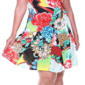 Plus Size Large Floral Print Dress Aqua Sundress Fit/Flare