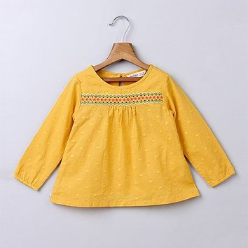 Beebay Yellow Dot Embroidered Smocked Top - Infant, Toddler & Girls